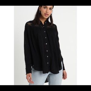 Free People Black Crocheted Button Up Shirt, XS